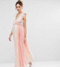 ASOS | Плиссированное платье макси в полоску с глубоким вырезом ASOS Maternit | Clouty