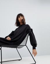 ASOS   Платье-свитшот миди с плиссировкой ASOS WHITE - Черный   Clouty
