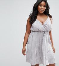 Club L | Плиссированное платье цвета металлик Club L Plus - Серый | Clouty