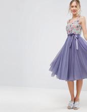 ASOS   Приталенное платье миди из тюля с цветочной отделкой на лифе ASOS   Clouty