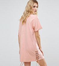 ASOS | Платье-футболка со шнуровкой по бокам ASOS TALL - Розовый | Clouty