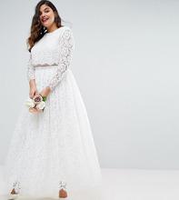 ASOS | Кружевное платье макси для выпускного с длинными рукавами ASOS CURVE B | Clouty
