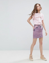 ASOS   Розовая джинсовая юбка с завышенной талией ASOS - Розовый   Clouty