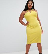 ASOS | Облегающее платье миди с вырезом ASOS CURVE - Желтый | Clouty