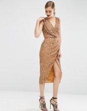 ASOS   Сетчатое платье миди с отделкой пайетками и драпировкой спереди ASOS   Clouty