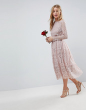 ASOS | ASOS DESIGN Bridesmaid lace long sleeve midi prom dress - Бежевый | Clouty