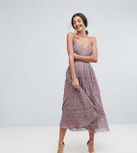 ASOS | Кружевное платье миди для выпускного ASOS TALL - Фиолетовый | Clouty