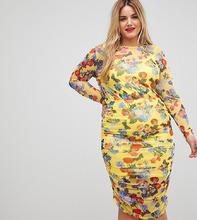 ASOS | Сетчатое платье-футляр с цветочным принтом ASOS CURVE - Мульти | Clouty