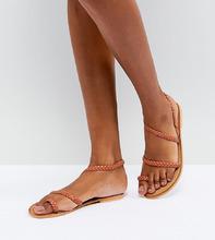 ASOS | Кожаные асимметричные сандалии ASOS FLORIDOR - Оранжевый | Clouty