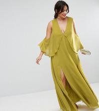 ASOS | Платье макси с открытыми плечами и драпировкой ASOS CURVE - Желтый | Clouty
