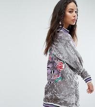 Jaded London | Свободное бархатное платье-джемпер с отделкой в рубчик и вышивкой Jade | Clouty