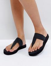 Free People | Кожаные сандалии с перемычкой Freepeople - Черный | Clouty