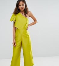 ASOS | Комбинезон на одно плечо с юбкой-брюками ASOS TALL - Зеленый | Clouty