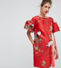 ASOS | Жаккардовое платье мини с принтом птиц ASOS Maternity - Красный | Clouty