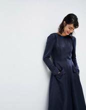 ASOS | Атласное платье-комбинезон ASOS WHITE - Темно-синий | Clouty