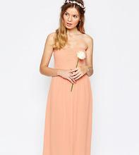 Vila | Платье миди с присборенным лифом-бандо Vila - Розовый | Clouty