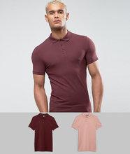 ASOS   Комплект из 2 трикотажных облегающих футболок-поло ASOS - Мульти   Clouty