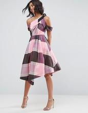 ASOS | Платье для выпускного в полоску и клетку на одно плечо в стиле 80-х AS | Clouty