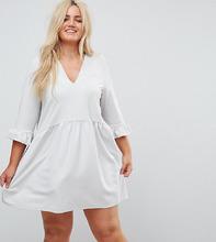 ASOS | Свободное платье с V-образным вырезом и манжетами-оборками ASOS CURVE | Clouty