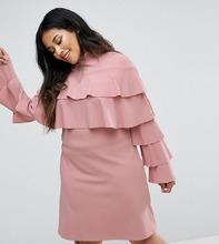 Club L | Платье с оборками Club L Plus - Розовый | Clouty