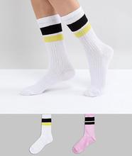 ASOS | Набор из 2 пар высоких носков с полосками ASOS - Мульти | Clouty