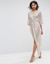 ASOS   Платье-кимоно макси с отделкой пайетками ASOS - Бежевый   Clouty