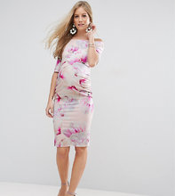 ASOS | Платье с розовым цветочным принтом, широким вырезом и рукавами до локт | Clouty