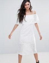 Free People | Платье-миди с открытыми плечами Free People - Белый | Clouty