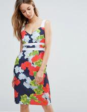 Vesper | Платье-футляр с контрастными лямками и цветочным принтом Vesper | Clouty