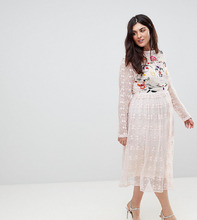 Frock And Frill | Приталенное платье из кружева с вышивкой Frock And Frill Plus Premium | Clouty