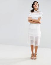 Fashion Union   Плиссированная ярусная юбка миди Fashion Union - Кремовый   Clouty