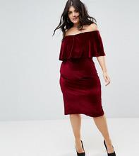 Club L | Велюровое платье миди Club L Plus - Красный | Clouty