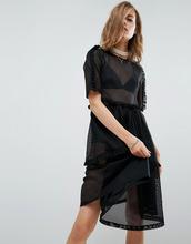 ASOS | Платье-футболка из сетки с оборками ASOS - Черный | Clouty