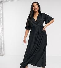 ASOS | Платье макси в стиле кимоно с плиссированной юбкой ASOS CURVE - Черный | Clouty