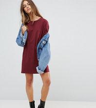 ASOS | Платье-футболка с отворотами на рукавах ASOS PETITE Ultimate - Красный | Clouty