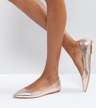 ASOS | Балетки с острым носком ASOS LATCH - Золотой | Clouty