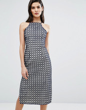 8th Sign | Кружевное платье миди с разрезом сбоку The 8th Sign - Темно-синий | Clouty