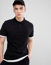 ASOS   Длинная футболка-поло с контрастными манжетами и краем ASOS - Черный   Clouty