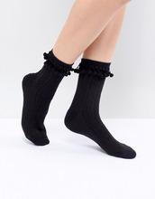 ASOS | Черные носки с помпонами ASOS DESIGN - Черный | Clouty