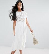 ASOS   Платье миди с кроп-топом ASOS PETITE - Кремовый   Clouty