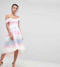 ASOS | Платье для выпускного в полоску с открытыми плечами и асимметричным по | Clouty