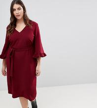 ASOS | Платье-кимоно миди с оборками на рукавах ASOS CURVE - Красный | Clouty