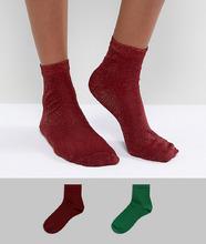 ASOS | 2 пары зеленых и красных носков с блестками ASOS - Мульти | Clouty