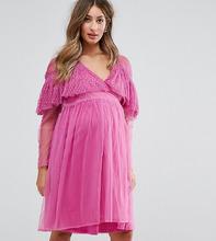 ASOS | Сетчатое платье с запахом и оборками ASOS Maternity - Розовый | Clouty