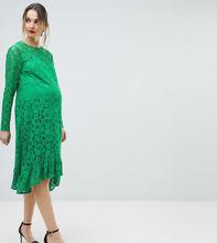 ASOS | Свободное кружевное платье миди ASOS DESIGN Maternity - Зеленый | Clouty