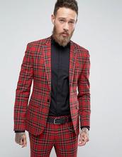 ASOS | Супероблегающий пиджак в клетку тартан ASOS - Красный | Clouty