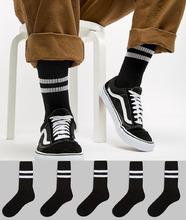 ASOS   5 пар черных спортивных носков с полосками ASOS - Черный   Clouty