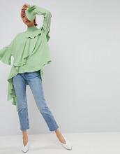 ASOS   Топ из крепа с каскадной оборкой ASOS WHITE - Зеленый   Clouty