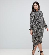 ASOS | Платье миди с баской и леопардовым принтом ASOS CURVE - Мульти | Clouty