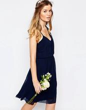 Vila | Платье на одно плечо Vila - Темно-синий | Clouty